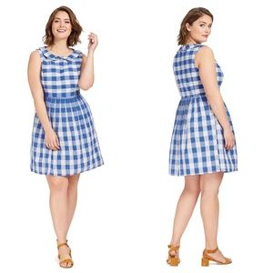 MODCLOTH Kindly Invited Gingham Linen Retro Dress